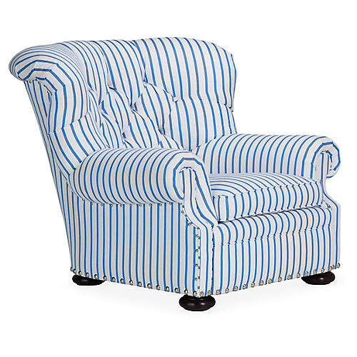 Writer's Wingback Chair, Sky Sunbrella