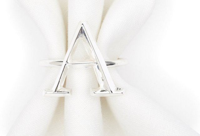 S/4 Silver-Plated Monogram Napkin Rings