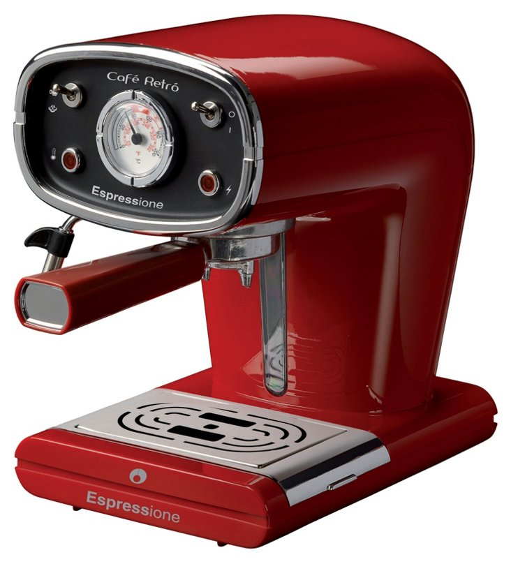 Retro Espresso & Cappuccino Maker, Red