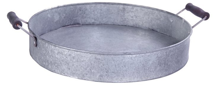 Round Metal Tray w/ Handles