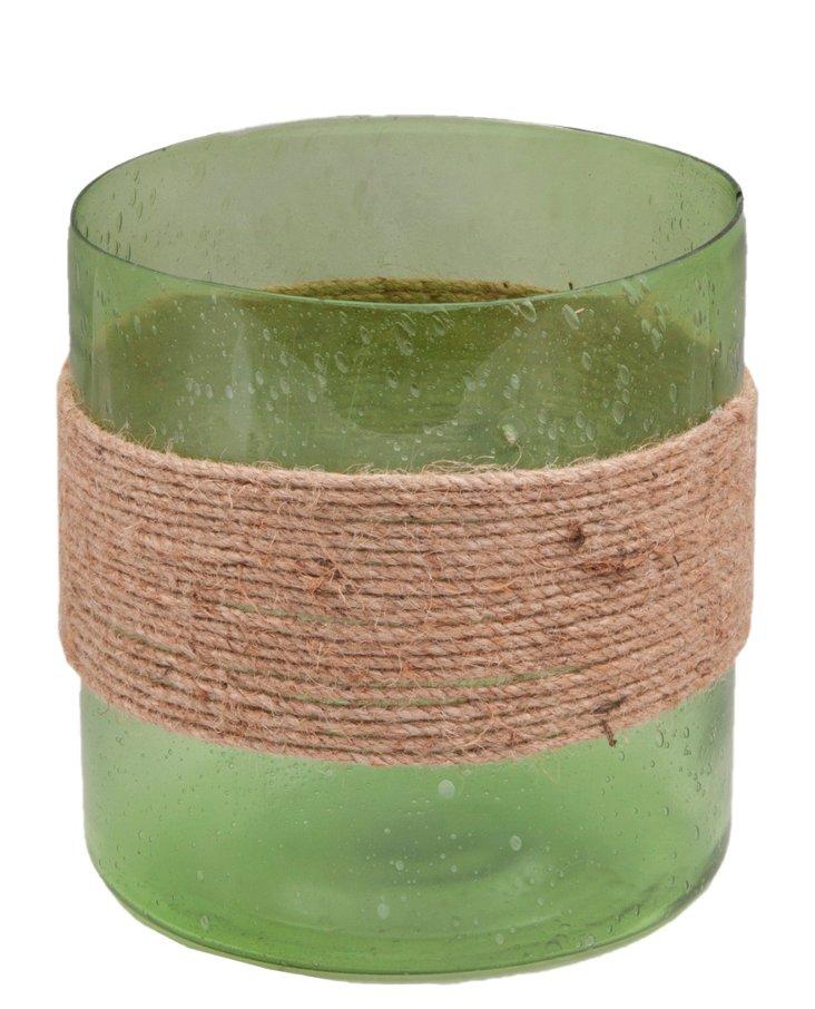 """8"""" Seeded Cylinder Votive, Green"""