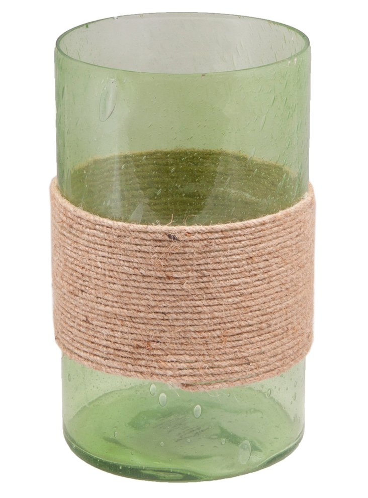 "6"" Seeded Cylinder Votive, Green"