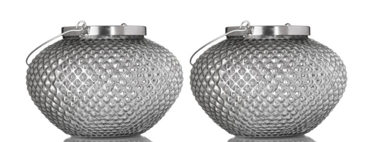 "S/2 8"" Pineapple Lanterns, Silver"