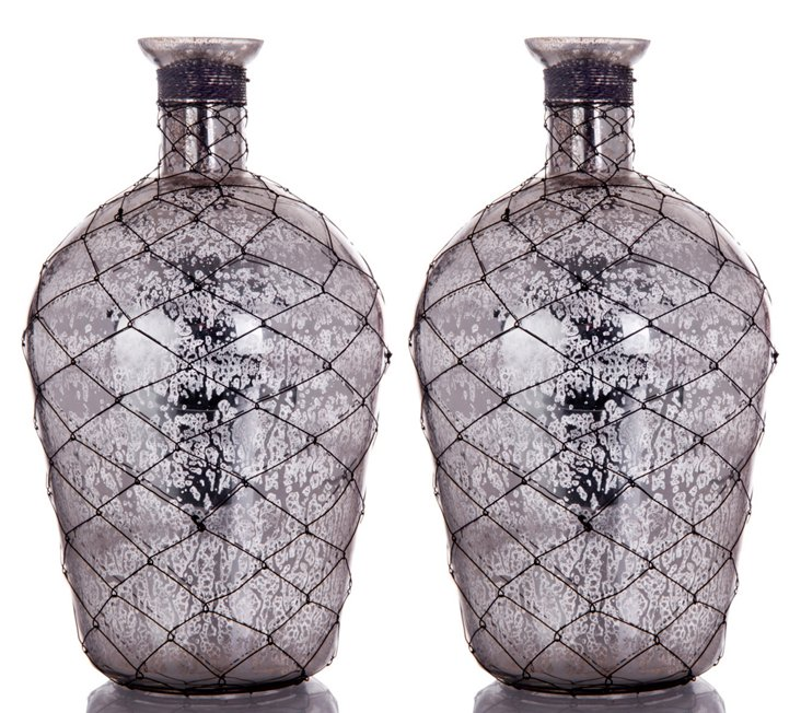 "S/2 10"" Wire Mercury Glass Bottles"