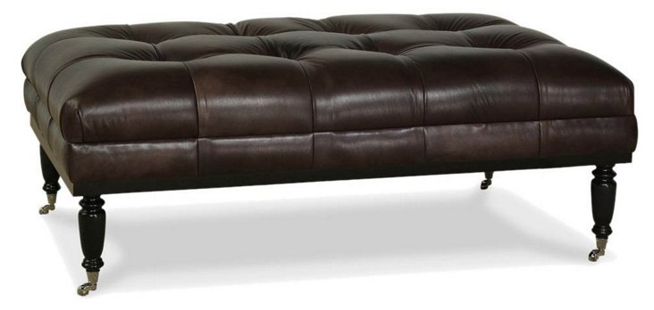 Old Course Leather Ottoman, Chocolate