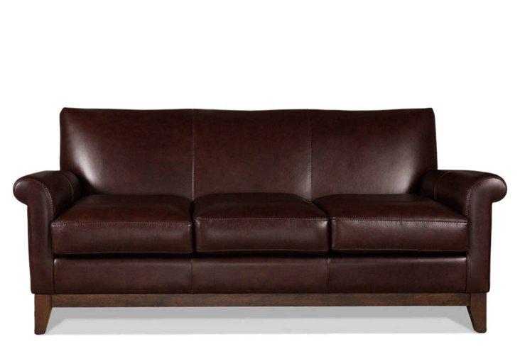 "Wilshire 75"" Leather Sofa, Espresso"
