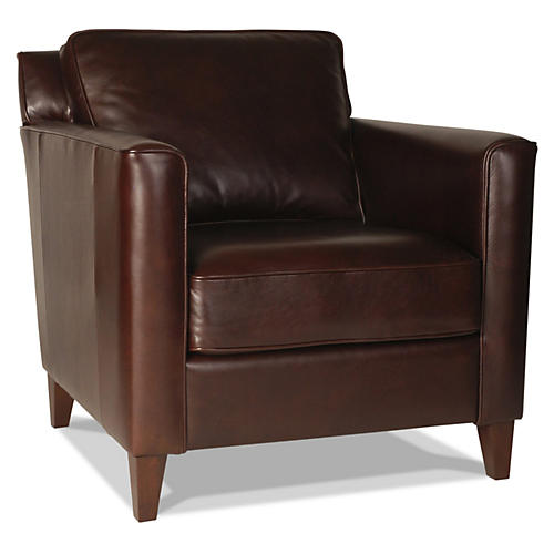 Gramercy Park Leather Chair, Espresso