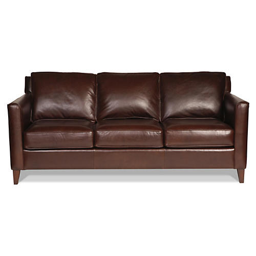 "Gramercy Park 80"" Leather Sofa, Brown"