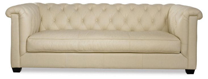"Alexa 93"" Tufted Leather Sofa, Almond"