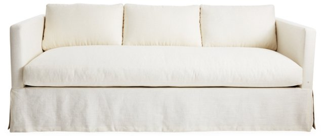 "Spencer 89"" Linen Sofa, Ivory"