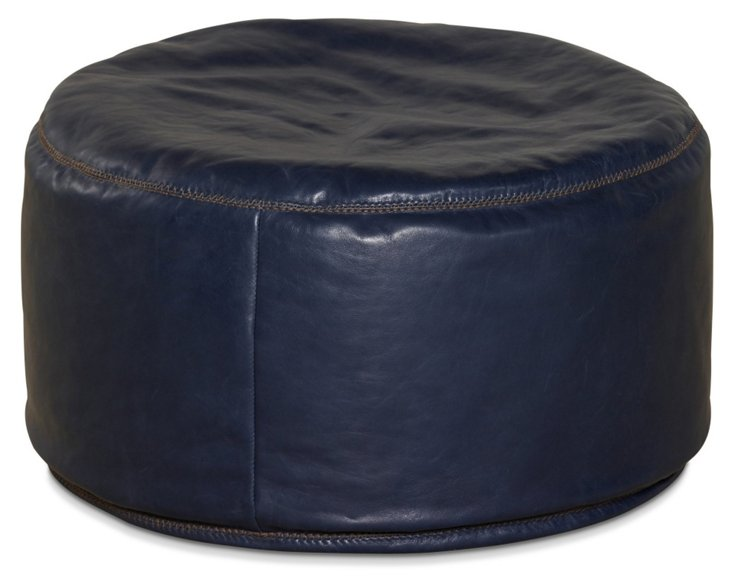 "Candemir 26"" Round Leather Pouf, Indigo"