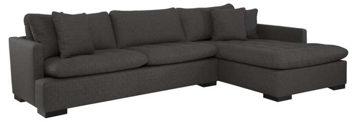 Blake Right-Facing Sectional, Charcoal