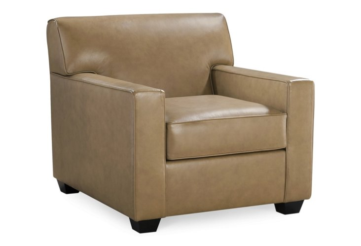Grafton Leather Club Chair, Taupe