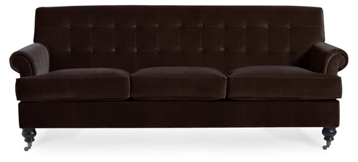 "Whitby 89"" Tufted Velvet Sofa, Espresso"