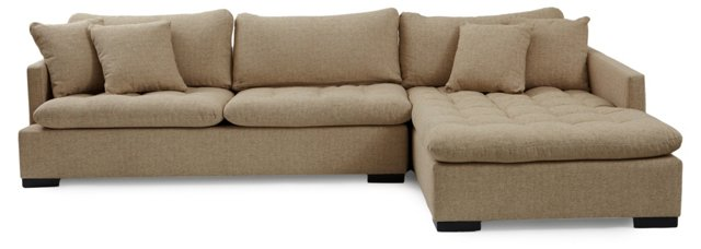 Blake Tufted Sectional, Oatmeal Boucle