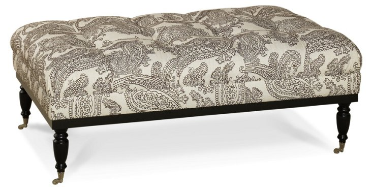 Old Course Ottoman, Chocolate Paisley