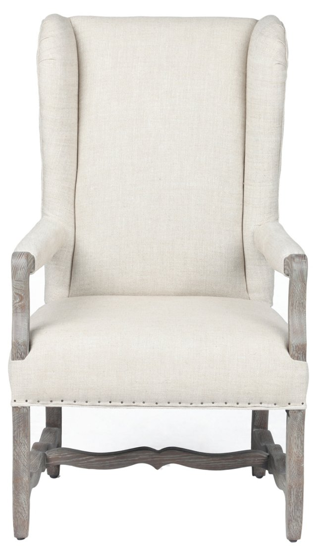 Clara Linen Wingback Chair,  Cream