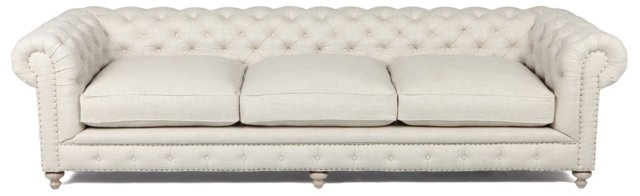 "Finn 118"" Tufted Linen Sofa, Cream"