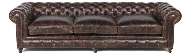 """Finn 118"""" Leather Tufted Sofa"""