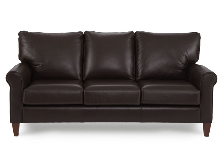 "Camden 75"" Leather Sofa, Coffee"
