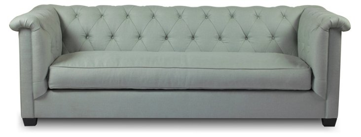 """Alexa 93"""" Tufted Linen Sofa, Seafoam"""