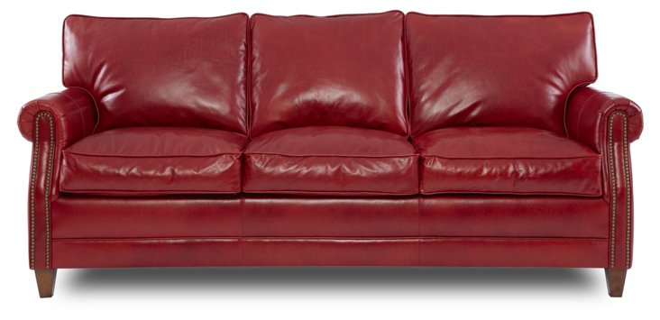 "Sundance 83"" Leather Sofa, Vermillion"