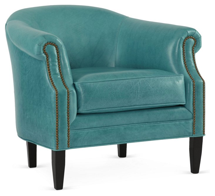 Hyde Leather Chair, Turquoise