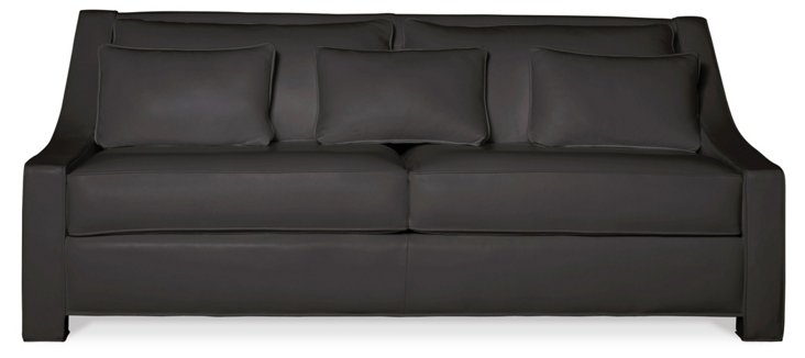 "Taylor 84"" Leather Sofa, Charcoal"