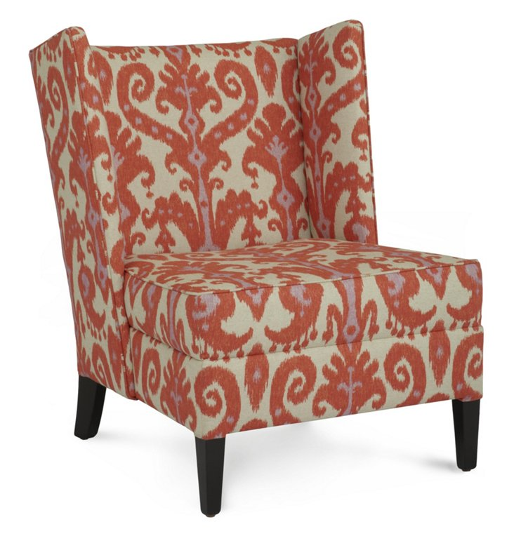 Camille Wing Chair, Cream/Rust