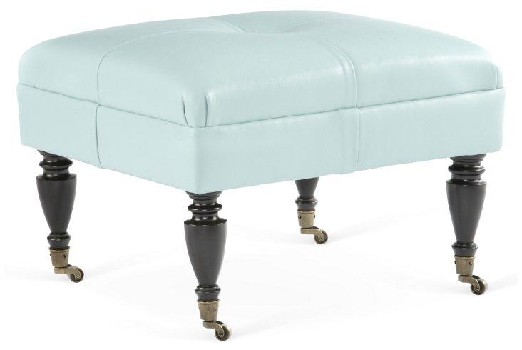 Landon Leather Footstool, Sky Blue