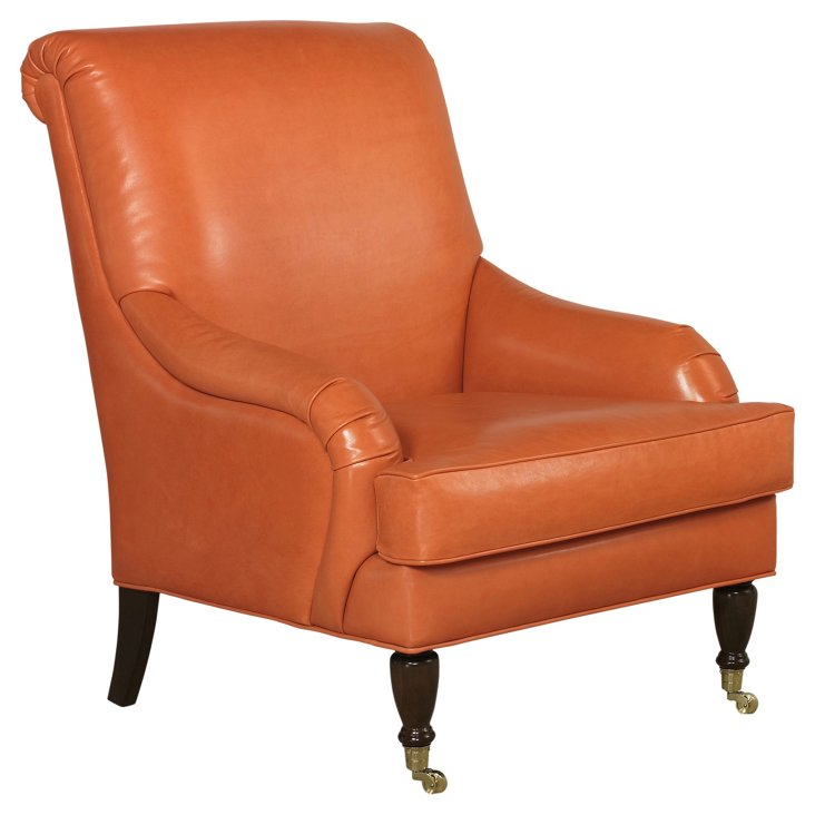 Oxford Accent Chair, Papaya Leather