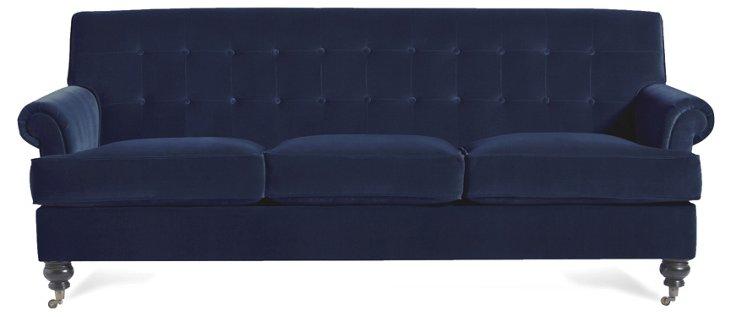 """Whitby 89"""" Velvet Sofa, Navy"""