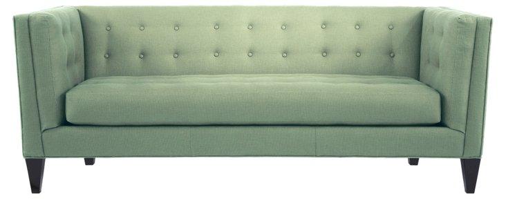 """Bennett 86"""" Tufted Linen Sofa, Seafoam"""