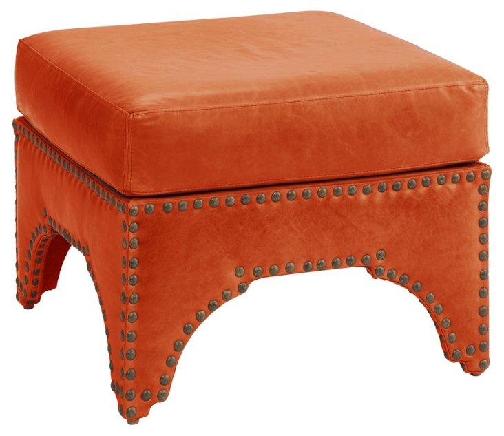 "Candemir 24"" Ottoman, Papaya Leather"