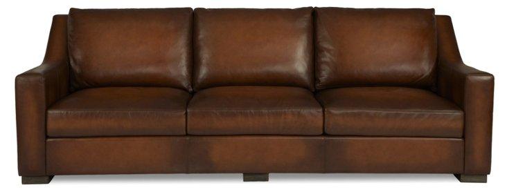 """Jake 105"""" Leather Sofa, Whiskey"""