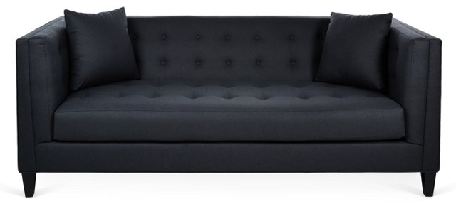 "Bennett 86"" Tufted Sofa, Charcoal"