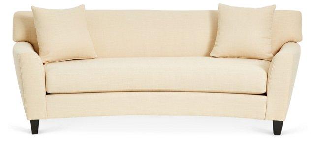 "Broadmoor 90"" Curved Sofa, Cream"