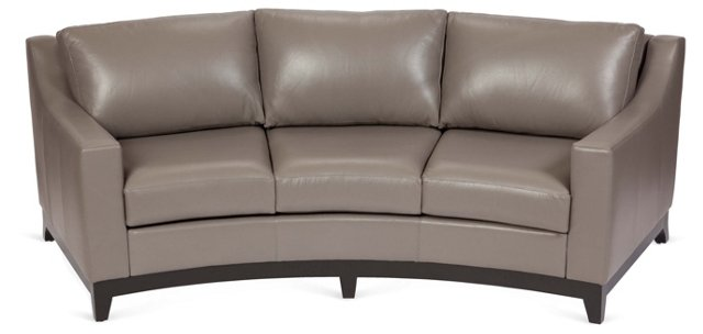 Bayside Curved Leather Sofa, Gray