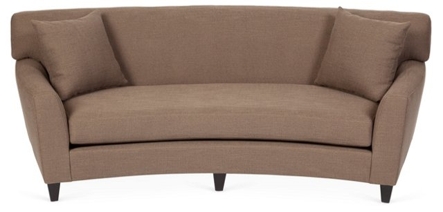 "Broadmoor 90"" Curved Sofa, Taupe"