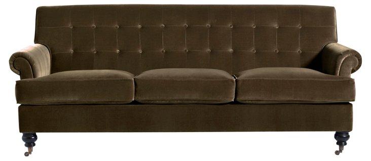 """Whitby 89"""" Tufted Velvet Sofa, Olive"""