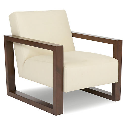 Roma Club Chair, Cream Leather