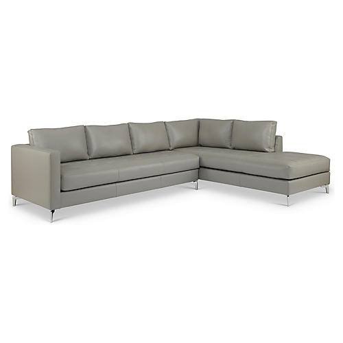 Kyoto Leather Sectional, Gray