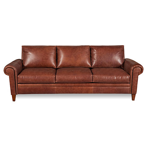 "Jacoby 91"" Leather Sofa, Mocha"