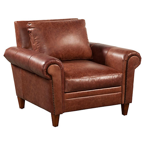 Jacoby Leather Chair, Mocha