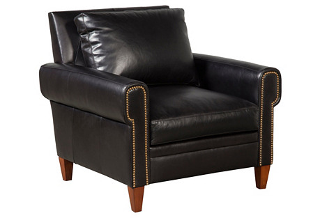 Alfie Leather Chair, Black