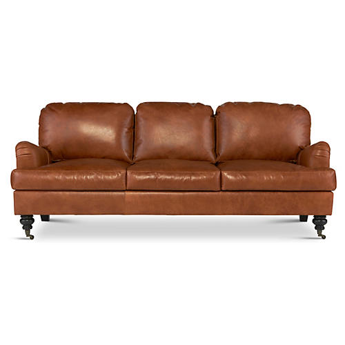 "Percy 84"" Leather Sofa, Umber"