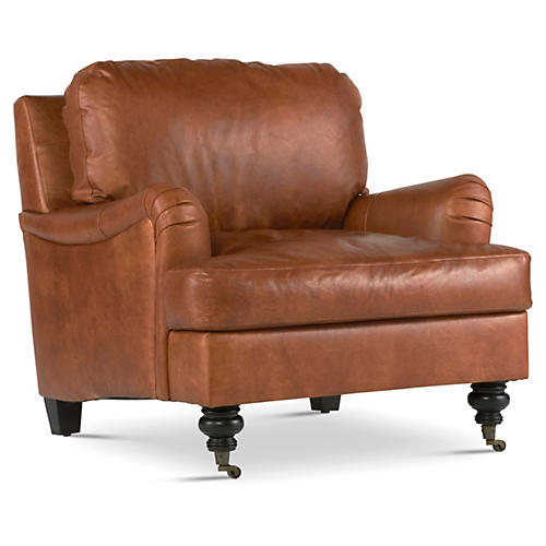 Percy Leather Chair, Umber