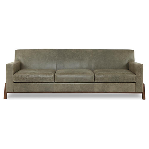 "Hudson 95"" Leather Sofa, Stone Gray"