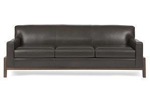 "Hudson 95"" Leather Sofa, Dark Walnut*"