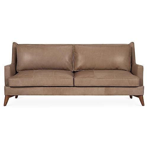 "Beverlywood 83"" Sofa, Pewter Leather"